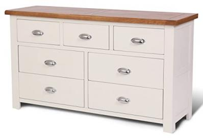 Ascot Oak 7 Drawer Chest of Drawers Oak and Stone White Painted Finish | Wooden Bedroom Furniture