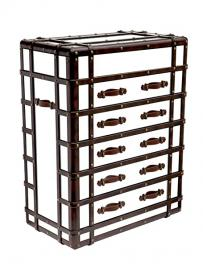 Mirrored Glass and Leather Trunk Chest of Drawers