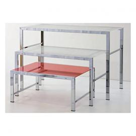 Rectangular Medium Table 100x 60x 60cm Structure in Tube with Shelf in Panelling White