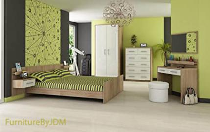 "Bedroom Furniture Set ""VERA"" Double Bed Frame, Side Night Tables, 2D Wardrobe, Chest Of 5 Drawers, Dressing Table and Wall-mounted Mirror. (Sonoma Oak Light/White Gloss)"