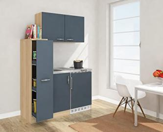 Respekta Mini Kitchen with MK 130 130 cm Including Wall Cabinet Imitation Rough Sawn Oak Front Grey Esgos
