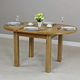 New London Solid Oak Round Extending Dining Table Seats 4 to 6