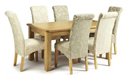 Oak wood Dining table chair set. Dinning 4 chairs, 6 chairs, table fabric and oak finish set (4 chairs & table)