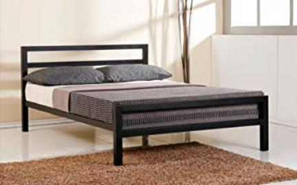 City Block 4ft6 Double Black Modern Metal Bed Frame and Venus Coil Sprung Mattress