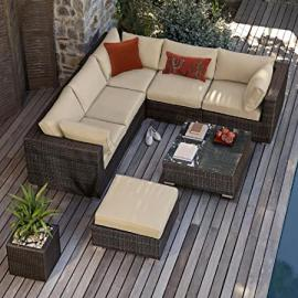 Maze Rattan Outdoor Garden Furniture London Brown Rattan Corner Sofa Set