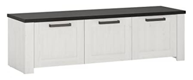 Furniture To Go Provence 3-Door Storage Bench, Wood, Whitewash Larch Finish/Dark Chocolate