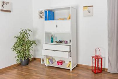 Tall 195cm Standard Drawer Bookcase Junco 46A, solid pine, white finish - H195 x W100 x D42 cm