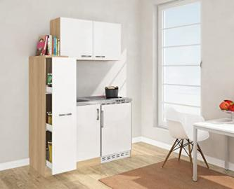 respekta MK 130 ESWOSC Mini Kitchen 130 cm Including Wall Cabinet White Front Imitation Rough Sawn Oak