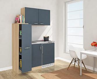 Respekta Mini Kitchen Kitchen 130cm Including Wall Cabinet Front Grey MK 130Esgosc Imitation Rough Sawn Oak