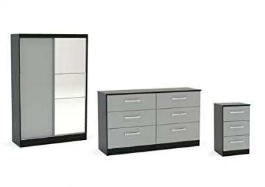 Birlea Lynx High Gloss 3 Piece Set - Sliding Mirrored Wardrobe, Chest Drawers and Bedside - Various Colours Available (6 Drawer Chest, Grey / Black)