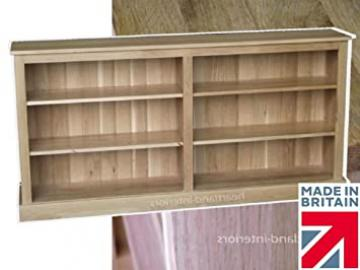 100% Solid Oak Bookcase, 6ft Wide Low Split Adjustable Display Shelving Bookshelves. Heartland Oak Range, No Flat-Packs, No Assembly (BKOAK8)
