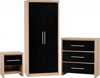 SEVILLE BEDROOM SET OAK/BLACK