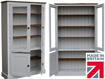 100% Solid Wood Display Cabinet, 172 cm Tall 4 Door White Painted & Waxed Glazed Display Cupboard, Bookcase. No flat packs, No assembly (GDC4DL-P)