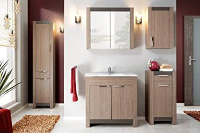 "Hobby Bathroom Furniture Set - 6-Piece Set in Oak Sonoma with Wash Basin - 23.62"" or 31.50"" - Wash Basin - 31.50"""