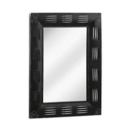 Protege Homeware Distressed Black Metal Frame New York Loft Mirror