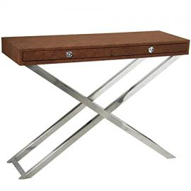Pame 43878 – Input Leatherette, Table with Stainless Steel Legs, 110 x 81.5 x 36 cm, Brown