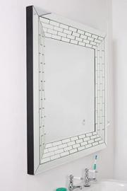 Large Bathroom Stunning All Mirror Glass Tiled Border Wall Mirror