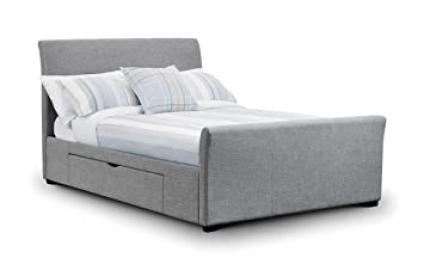 Capri Light Grey Fabric Bed 135cm 2 Storage Drawers Contemporary Design