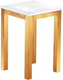 Brasil High Table 'Rio' 73x 73cm Solid Pine Wood, Colour: Snow, Honey