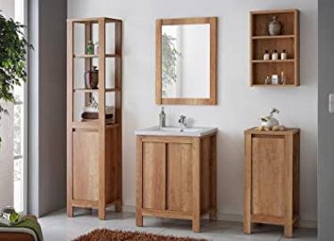 "Classic Bathroom Furniture Set in Oak - 6-Piece Set with Wash Basin and Cabinet - 23.62"" or 31.50"" - Wash Basin/Sink - 23.62"""