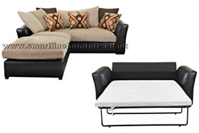 Luxurious Owen Modular Corner Sofa and 2 Seater Metal Action Sofa Bed Brown Beige Can Be Use As Right or Left Hand
