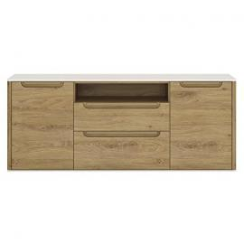 Furniture To Go Gobi 2-Door 2-Drawer Wide TV Cabinet, 147.8 x 53.9 x 40 cm, Shetland Oak/White High Gloss