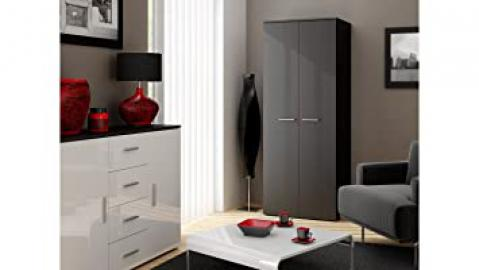 LUNA --- LOGO --- CAMA - MATCHING 2 DOOR WARDROBE - MATT CARCASS/BODY - HIGH GLOSS FRONTS - 180cm / 70cm / 55cm - WENGE MAT BODY / WENGE MAT FRONTS