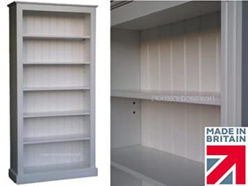 White Painted Bookcase, 6ft x 3ft, Solid Wood Shelving Unit with Adjustable Display Shelves. No flat packs, No assembly (BK23-P)