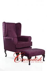 "Extra Wide Cavendish Deep Seat Orthopedic Chair in Plum 21"" or 19"" Seat Height (21"" Seat Height with Footstool)"