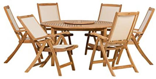 Royalcraft Torino 6 Seater Set with Textilene Chairs and Lazy Susan Round Table