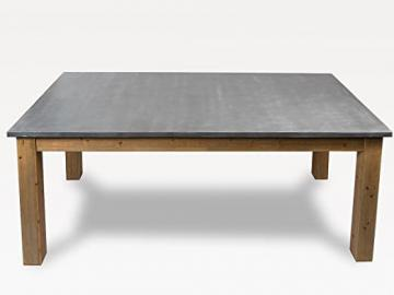 Simla – Table with Natural Wood and Cement Grey, White gray