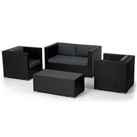 Appledore Rattan Outdoor Garden Patio Furniture Sofa Set Black