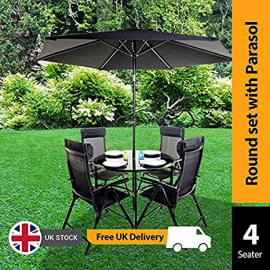 BillyOh Comfort 4 Seater Round Metal Garden Furniture Set