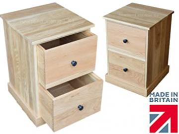 100% Solid Oak Filing Cabinet, Contemporary 2 Drawer A4 Filing Unit. Heartland Oak Range. Choice of Finishes. No flat packs, No assembly (FC-A2KC)