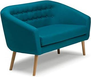 Molly 2 Seater Deep Seat Cushion Sofa Couch Settee Teal | Fabric/Wooden Legs