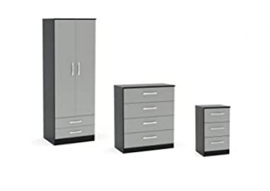 Birlea Lynx High Gloss 3 Piece Set - 2 Door Combi Wardrobe, Chest Drawers and Bedside - Various Colours Available (4 Drawer Chest, Grey / Black)
