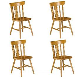 Julian Bowen Set Of 4 Yorkshire Fiddleback Chairs, Honey Pine