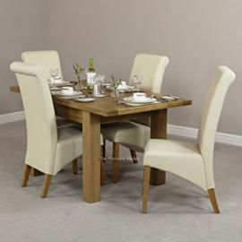 New London Small Extending Dining Table + 4 Cream Leather Chairs
