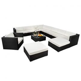 TecTake XXL Aluminium luxury rattan garden furniture sofa set outdoor wicker incl. clamp black