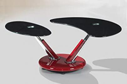 Torre Black Coffee Table Red Base and Black Glass