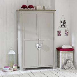 Grey Stone Painted Full Hanging Wardrobe with Oak Top