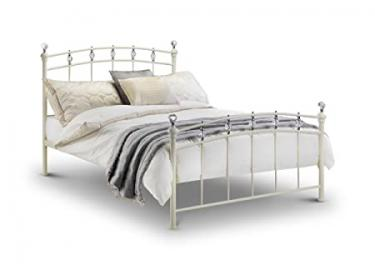 Sophie 135cm Double Bed Stone White Ivory Finish Crystal Chrome