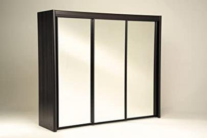Parisot Maya Wenge Wardrobe 2 Sliding Doors/ One Mirror/ 230 cm with Particle Boards Plus Paper Foil, 233.2 x 217.3 x 61.4 cm