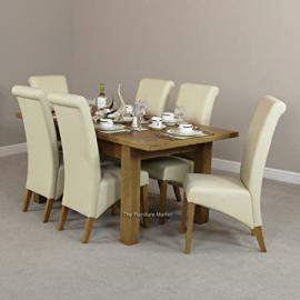 New London Medium Extending Dining Table + 6 Cream Leather Chairs