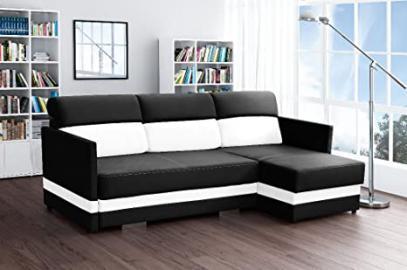 COLIBER Corner Sofa Bed* Brand New * Modern Design * BLACK AND WHITE