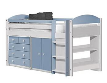 Design Vicenza Maximus Mid Sleeper Set 3 Long 3ft White With Baby Blue Details