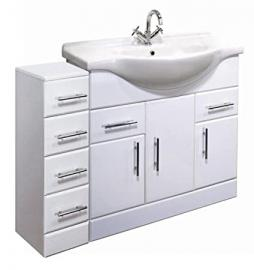 1200mm High Gloss White Bathroom Furniture Set - Vanity Cabinet Basin Unit & 4 Drawer Cupboard
