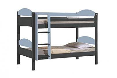 Design Vicenza Maximus Bunk Bed, Wood, Graphite with Baby Blue Details, Single, 3 ft
