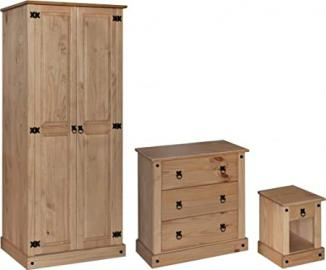 Corona Bedroom Set | Wardrobe, Drawers & Bedside Table | Light Fiesta Solid Pine by Capital Stores