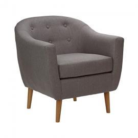 Protege Homeware Grey Linen Natural Rubberwood Legs Stockholm Armchair